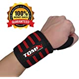 "FLASH Sale- Wrist Wraps for Weightlifting with Thumb Loop- ONE PAIR-Crossfit and Fitness- Adjustable 18"" Length for Women and Men"
