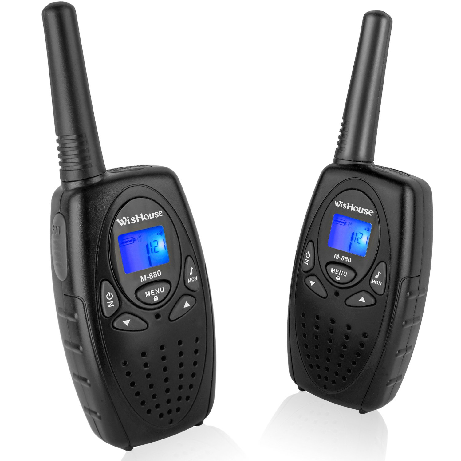 Walkie Talkies with Mic Vox Clip 22 Channels, Wishouse Adults Two Way Radio for Travel with 2.5mm Jack 3 Mile Range Noise Cancelling Loud Speaker Walky Talky for Family Trip Cruise (M880 Black 1 Pair)