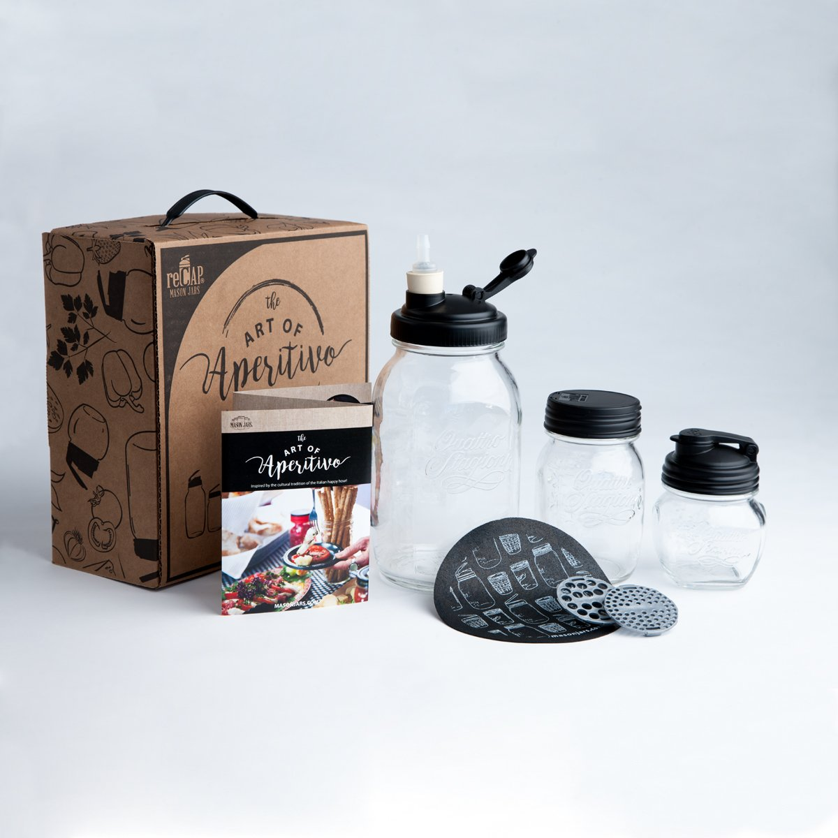 reCAP Mason Jars Art of Aperitivo: Italian Happy Hour Gift Set with Bormioli Jars and Waterless Airlock Fermentation Kit