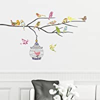 Decowall DW-1202 14 Birds on a Branch Kids Wall Stickers Wall Decals Peel and Stick Removable Wall Stickers for Kids Nursery Bedroom Living Room