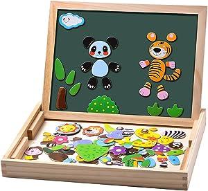 Uping MBWJ001 - Puzles de Madera magnética, 100 Piezas, Pizarra de Doble Cara imantada, Tabla de Dibujo con bolígrafos de Colores y tizas, Juguete Educativo para niños de 3 años y más, Multicolor