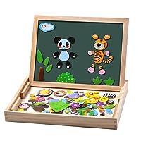 Uping Puzzles en Bois Magnétique 100 Pièces, Tableau Double Face Aimanté, Planche à Dessin Stylos Colorés Craies, Jouet Educatif Enfant 3 Ans Plus, MBWJ001, Multicolor