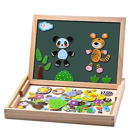 Uping Puzzles aus Holz, magnetisch, 100 Teile, doppelseitig, magnetisch, Zeichenbrett mit bunten Stiften und Kreide, Lernspie