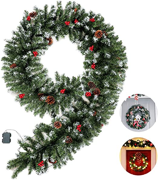 Amazon Com Mrniu Flocked Christmas Garland With Clear Lights 70 Led 9 Foot By 15 7 Inch Battery Powered Waterproof String Light With Timer Pre Lit Indoor Outdoor Xmas Artificial Decorations Home Kitchen