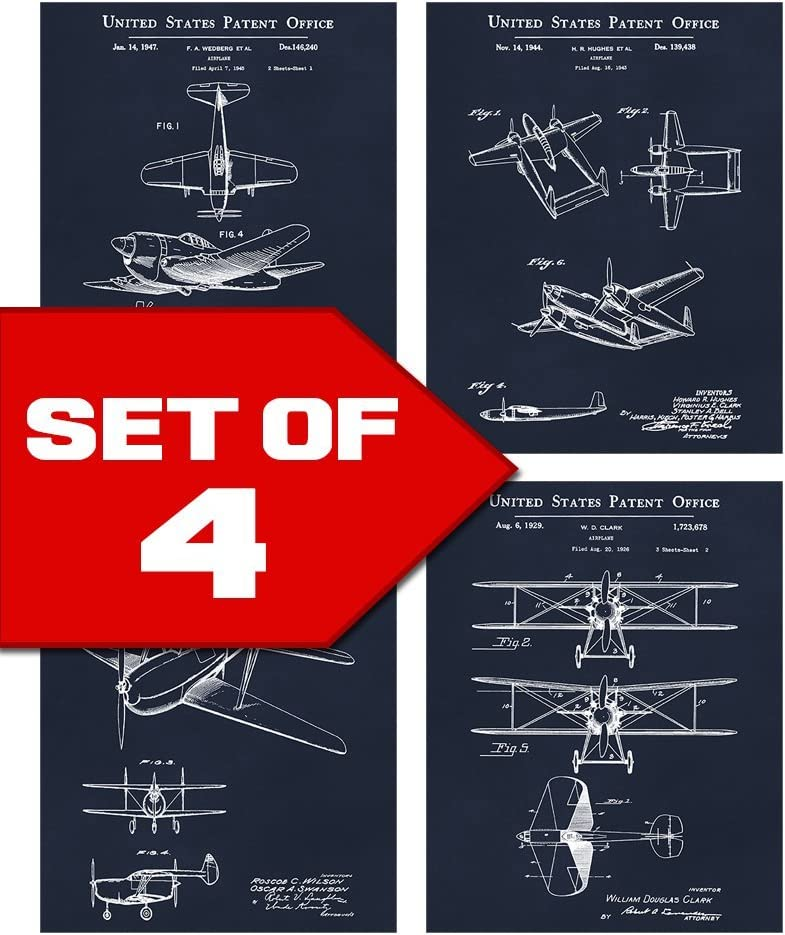 Wallables Navy Blue Vintage Airplane Patents Set! Four 8x10 Aviation Themed Mens Wall Decor Art Prints for Office, Home, Living Room, Bachelor Pad or Barbershop Decoration! Designed exclusively for