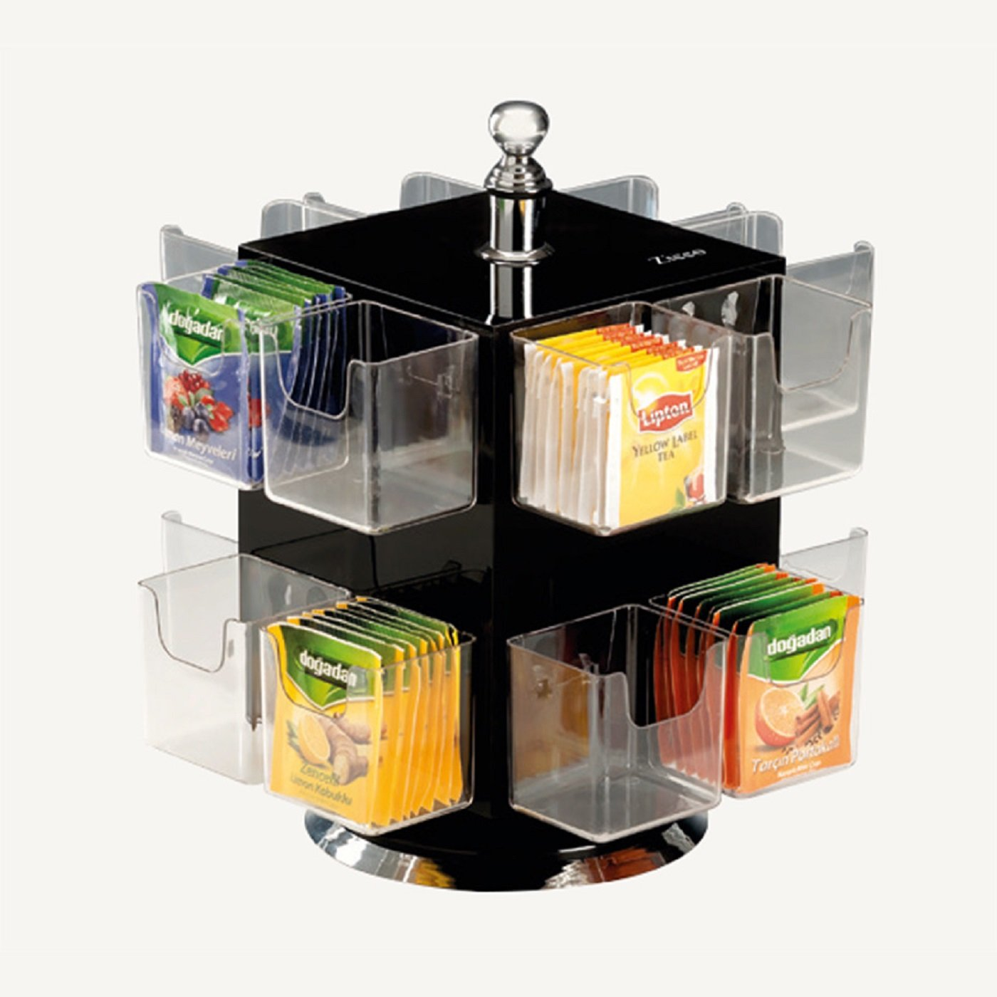 PROFESSIONAL Cafe Bistro Restaurant or for Home/Office use Polycarbonate Shelves and BLACK Acrylic Commercial Tea Packet Teabag Holder Display ROTARY Stand Storage Organizer Box 16 COMPARTMENT by Remta Makina