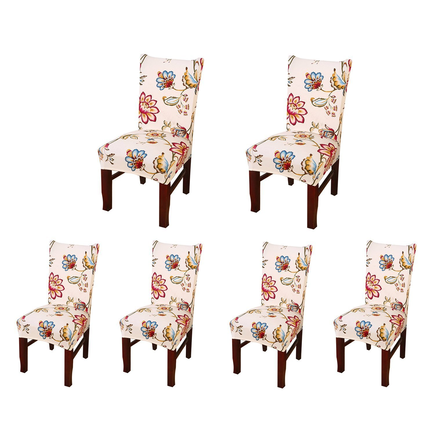SoulFeel Set of 6 x Stretchable Dining Chair Covers, Spandex Chair Seat Protector Slipcovers for Holiday Banquet, Home Party, Hotel, Wedding Ceremony (Style 34, Floral)