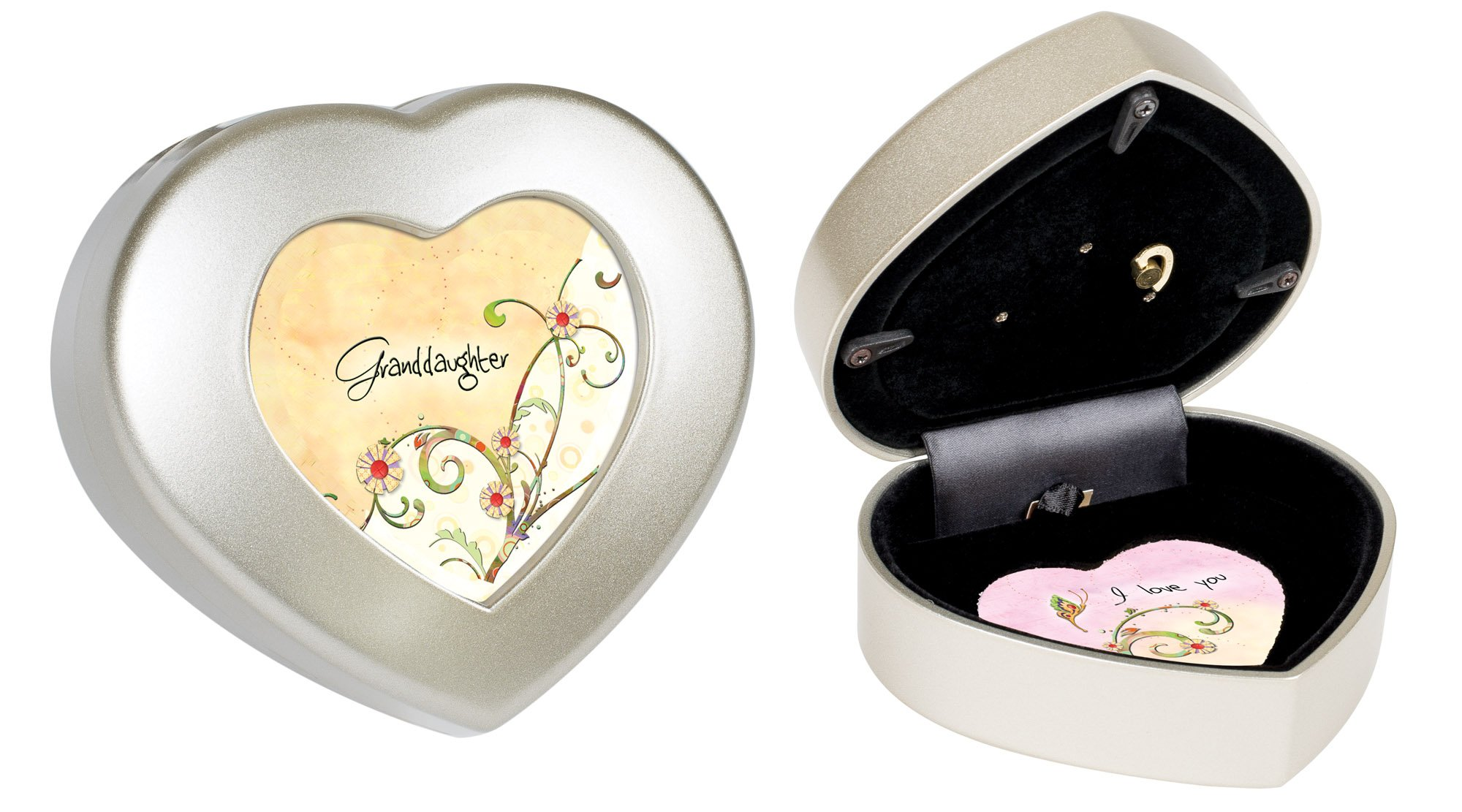 Cottage Garden Granddaughter I Love You Champagne Silvertone Jewelry Music Box Plays Light Up My Life