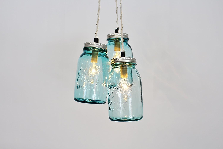 B016CEK3JK Mason Jar Chandelier Pendant Light, 3 Vintage Aqua Blue Jars, Bulbs Included 7142BKAanuJL._SL1500_