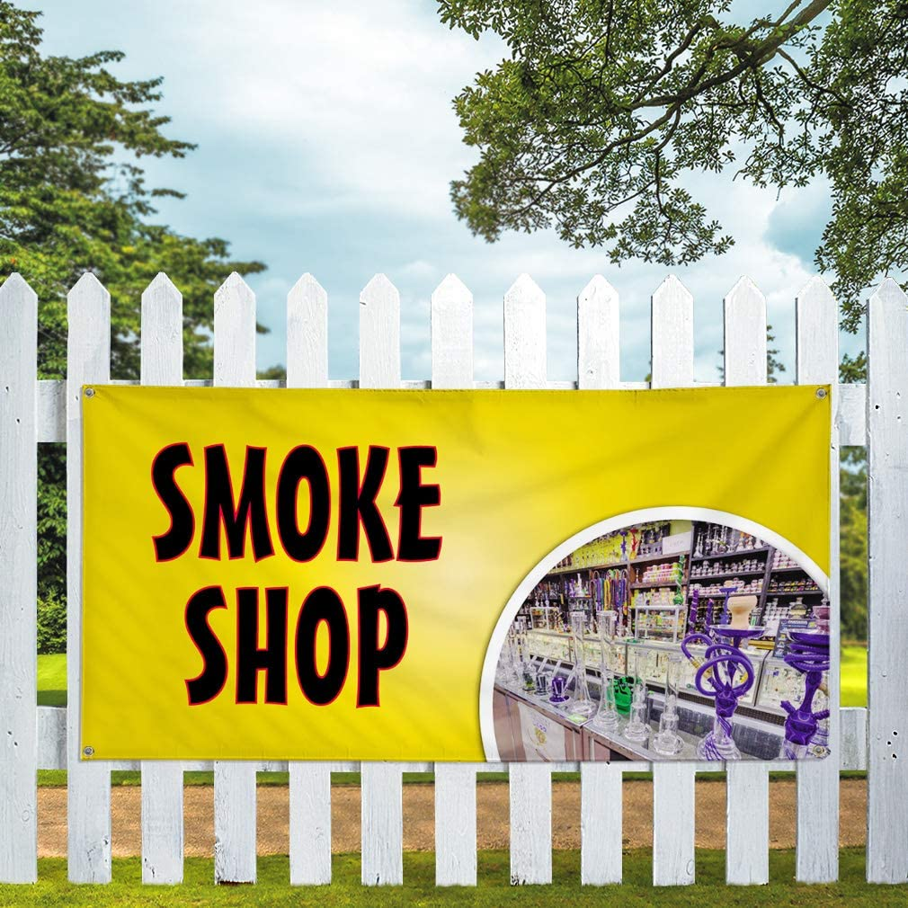 Vinyl Banner Multiple Sizes Smoke Shop A Outdoor Advertising Printing Lifestyle Outdoor Weatherproof Industrial Yard Signs 10 Grommets 60x144Inches