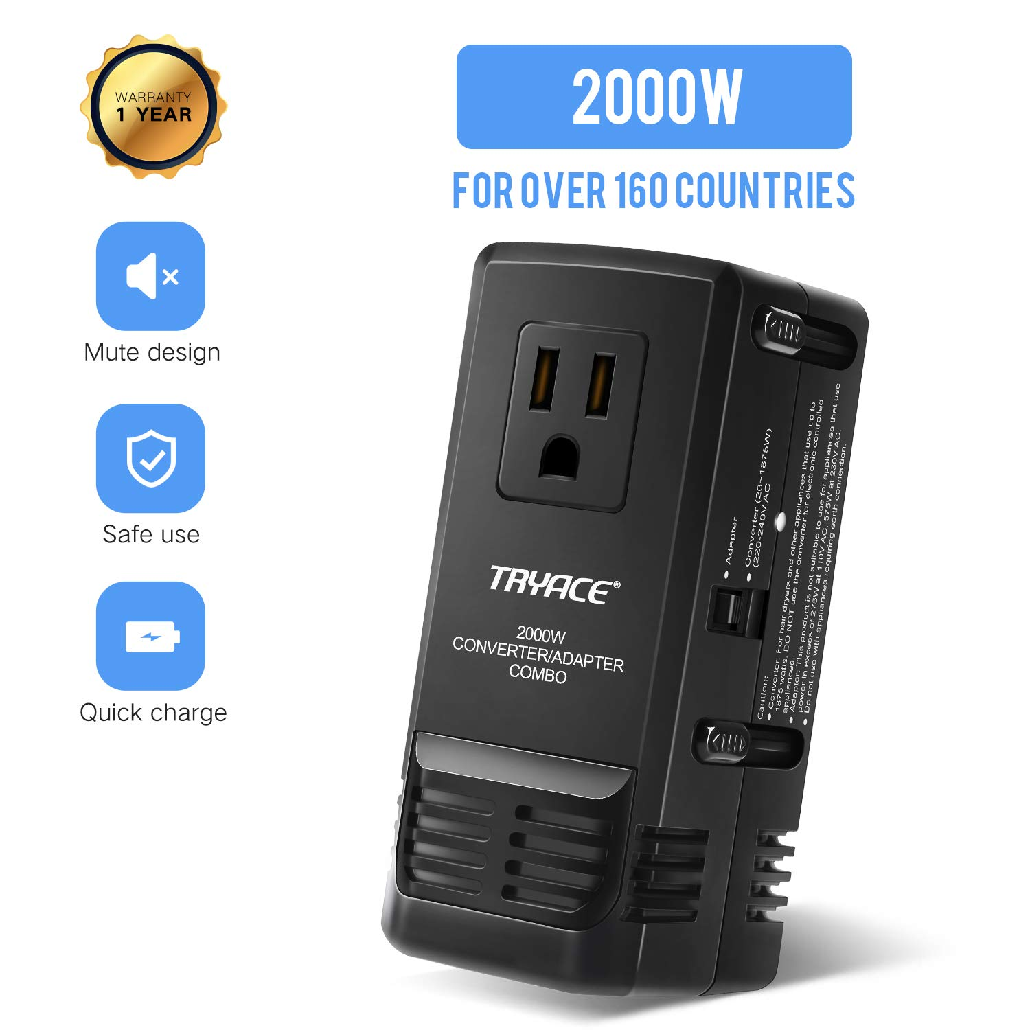TryAce 2019 Upgraded All-in One 2000W Travel Adapter, International Power Adapters Universal World Voltage Converter Set Down 220V to 110V for US to UK AU EU Worldwide Plug Over 200 Countries