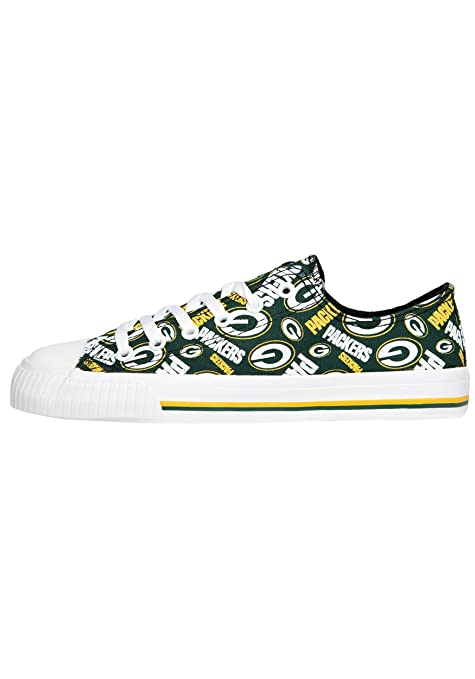 2d55fcc8e907e3 Amazon.com   Green Bay Packers NFL Womens Low Top Repeat Print Canvas Shoe  - Size 6   Sports   Outdoors