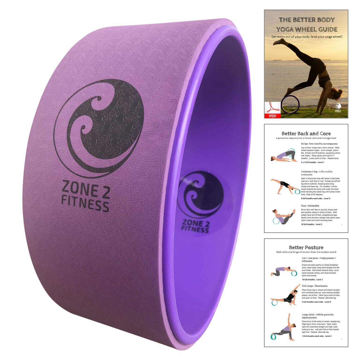 ZONE 2 FITNESS Yoga Wheel 13'' Purple - Bonus Free 30 Pose Guide by Yoga Instructor - Stretching, Flexibility, Back and Core, Posture, Strength - 20% More Padding, Comfortable, Perfect Yoga Accessory