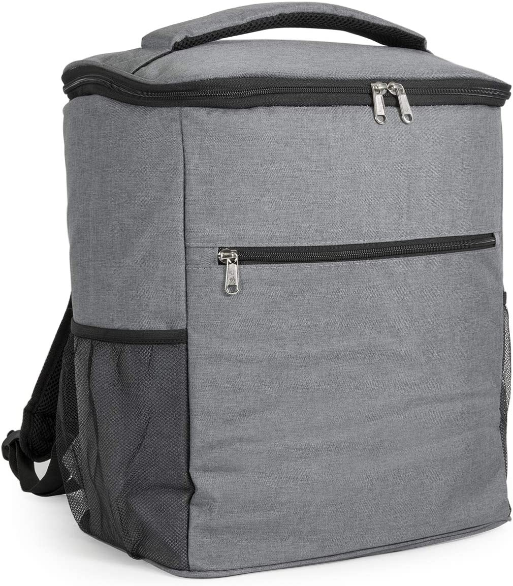 AVAFORT Insulated Cooler Backpack, Leakproof Soft Cooler for Lunch, Picnic, Hiking, Beach, Park, Soft-Sided Cooling Bag for Picnic, Beach, Camping, Hiking, 24Can Grey