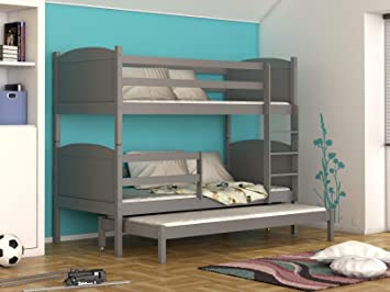 Etagenbett Für 3 : Naka massivholz mdf etagenbett liegeflächen ink matratzen