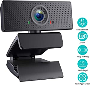 SAITOR 1080P Webcam, Built-in Microphones, Full HD Video Camera for Computers PC Laptop Desktop, USB Plug and Play, Conference Study Video Calling, Skype