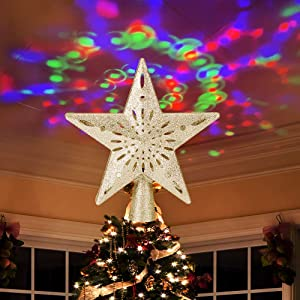 Ywlake Christmas Tree Topper Lights, LED Light Up Lighted Star Christmas Top Topper Projecter with Projection for Indoor Outdoor Christma Tree Decor Decorations (Plastic, Gold)
