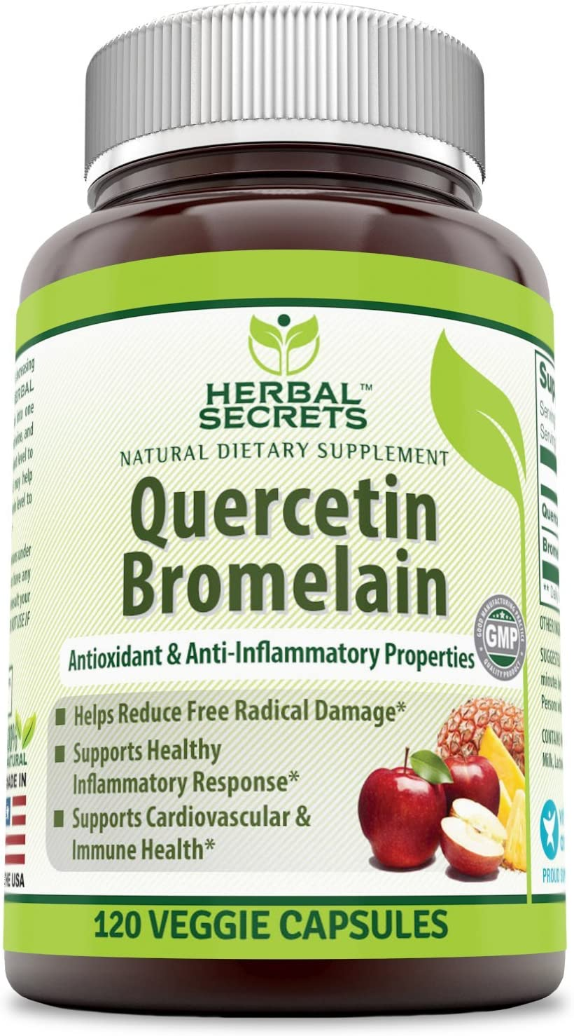 Herbal Secrets Quercetin 800 Mg with Bromelain 165 Mg, 120 Veggie Capsules (Non-GMO) - Supports Cardiovascular & Immune Health * Supports Healthy inflammatory Response *