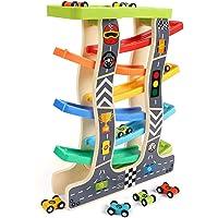 Lewo Juguetes para niños pequeños Racer de Madera de la rampa para 1 2 3 años de Edad, niñas niños Pista de Carreras de…