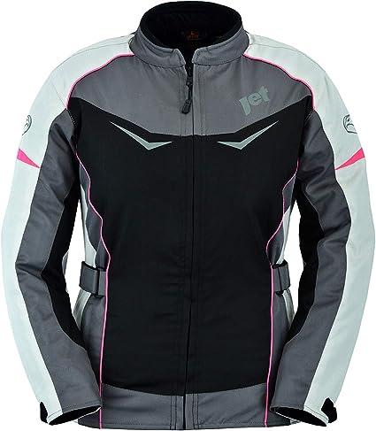 EU 40 JET Blouson Veste Moto Femme Imperm/éable avec Protection Textile Rochelle Gris//Rose, L