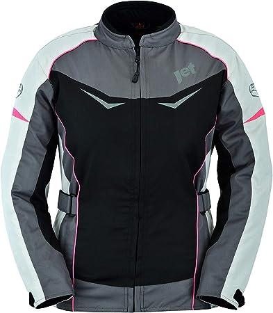 XS EU 34 Jet Motorradjacke Damen Mit Protektoren Textil Winddicht Sommer Winter ROCHELLE , Grau//Pink