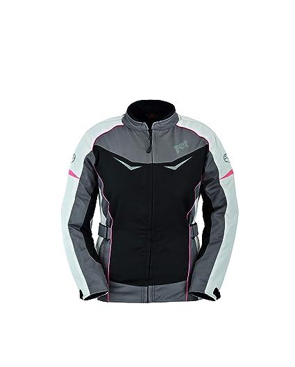 JET Chaqueta Moto Mujer Textil Impermeable con Protecciones ROCHELLE (M (ES 38), Gris/Rosa)