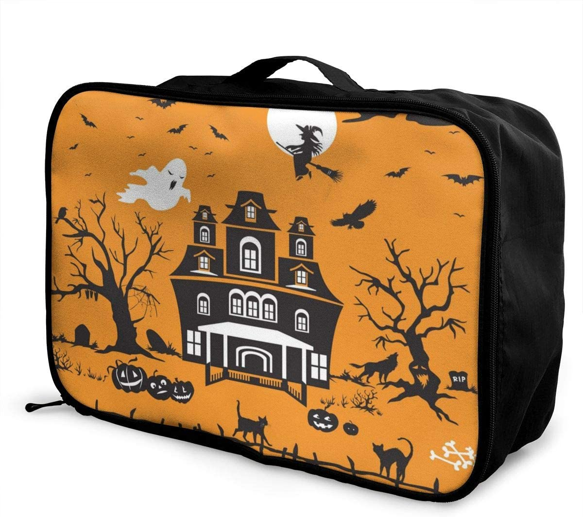 Yunshm Halloween Wolf Cat Flying Witch Personalized Trolley Handbag Waterproof Unisex Large Capacity For Business Travel Storage