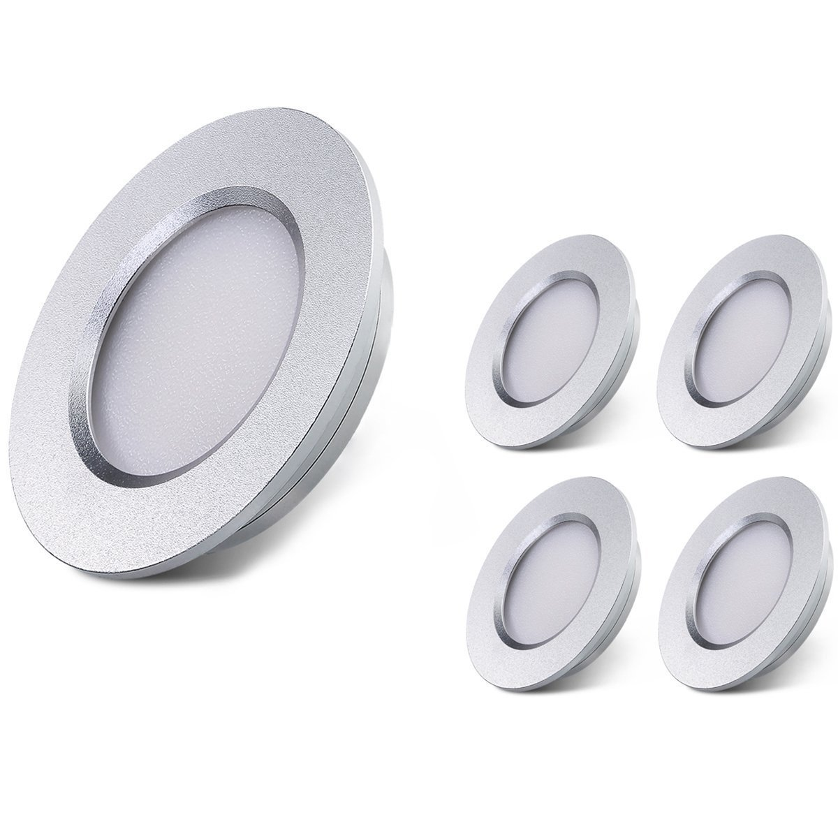 LED RV Boat Ceiling Light B-Right 12V LED Recessed Cabinet Lights Waterproof Ultra-Thin LED Interior Lighting for Motorhome Sailboat Yacht 3000K Warm White(4 Pack)