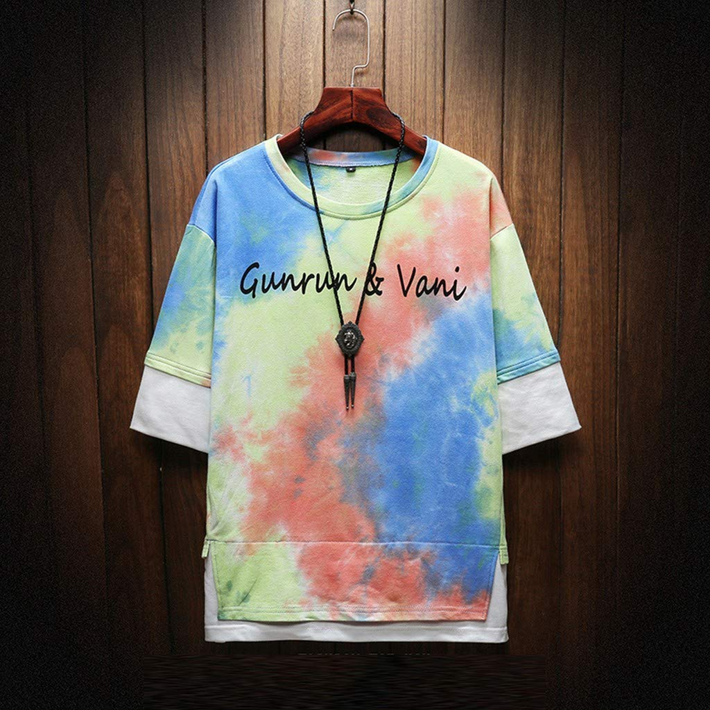 DONTAL Mens Summer Fashion Printed Tie-Dyed Fake Two Blouse Comfortable Top