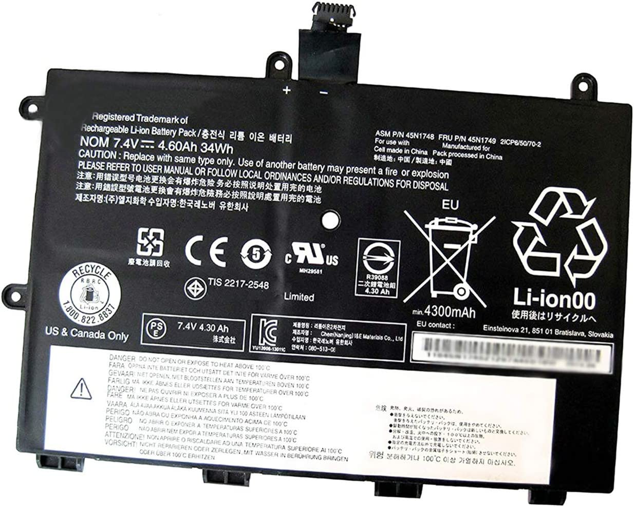 BOWEIRUI 45N1748 (7.4V 34Wh 4600mAh) Laptop Battery Replacement for Lenovo ThinkPad Yoga 11E Series Notebook 45N1749 45N1750 45N1751