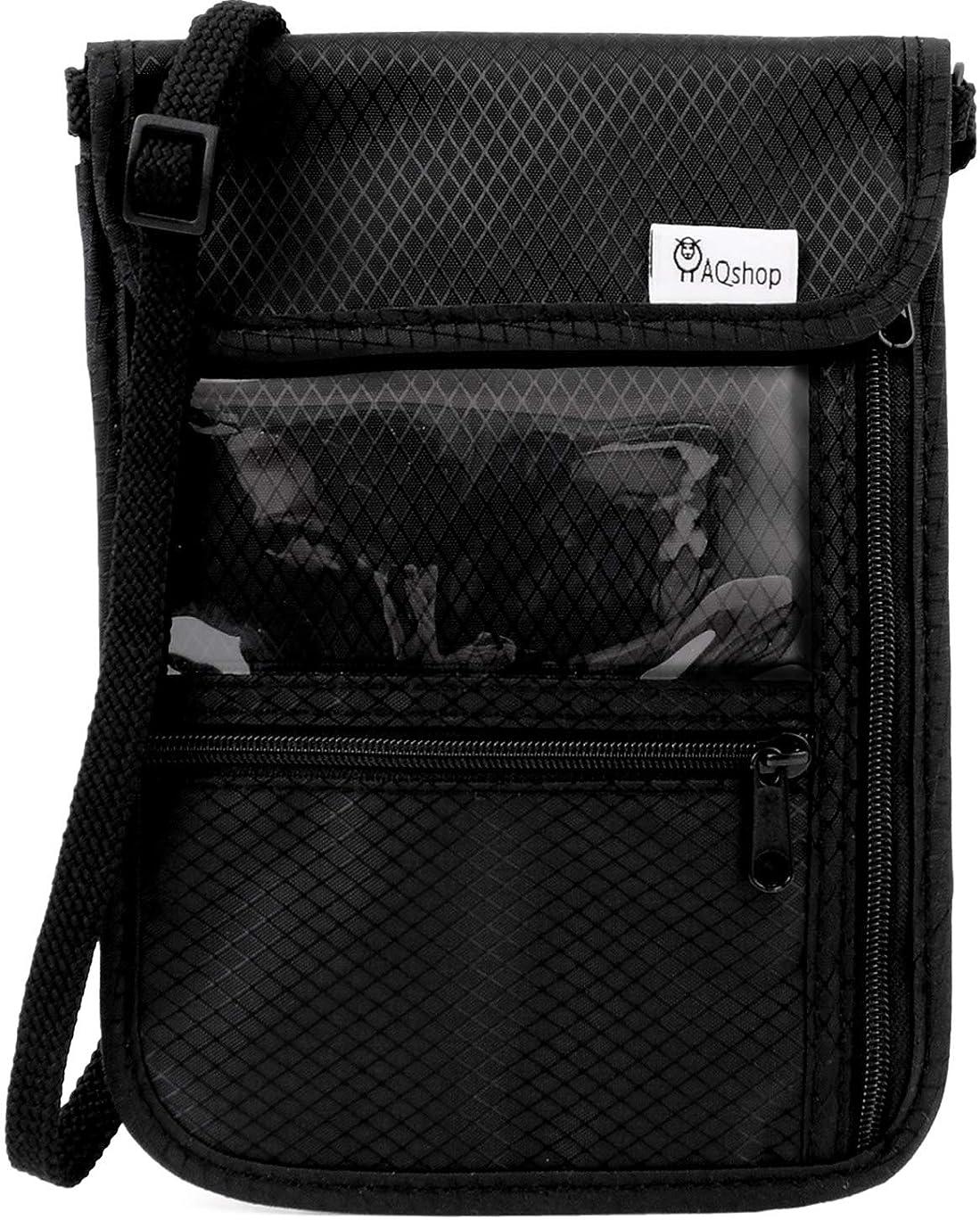 の配列トーン検体Gonex パスポートケース 17ポケット 航空券対応 撥水ナイロン 軽量 RFIDブロッキング機能 持ち手付き 多機能収納ポケット 男女兼用 海外旅行/散歩 黒