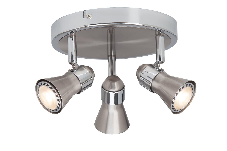Brilliant Sanny LED Spotrondell, 3-flammig, 3x LED GU10 5W inklusiv, eisen/chrom G15434/77 [Energieklasse A] Brilliant AG