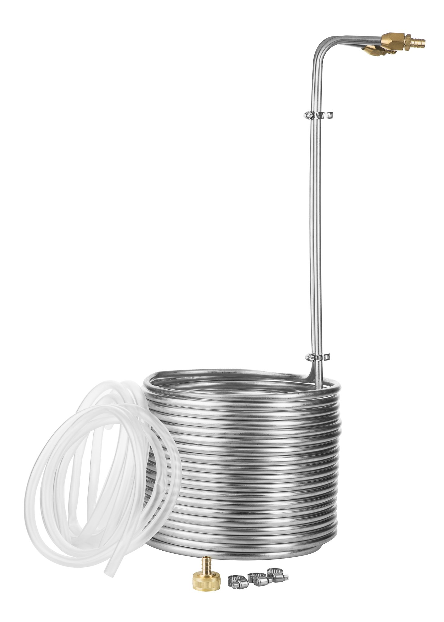 JockeyBox.com WC-50SS38 50 Foot Stainless Steel Immersion Wort Chiller with No-Leak Fittings and Accessories, 50',