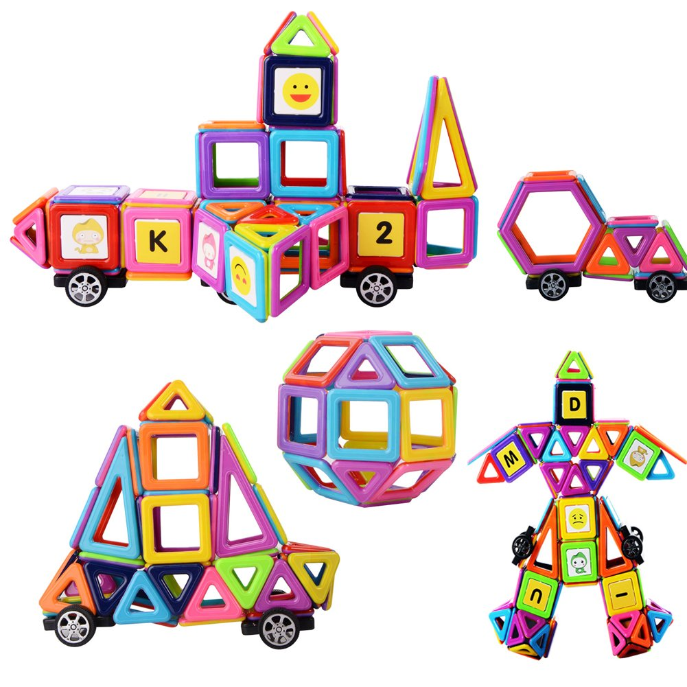XUELIEE Magnetic Building Blocks Set, 76 Pieces Magnetic Construction Stacking Educational Stacking Toys for Kids and Adults …