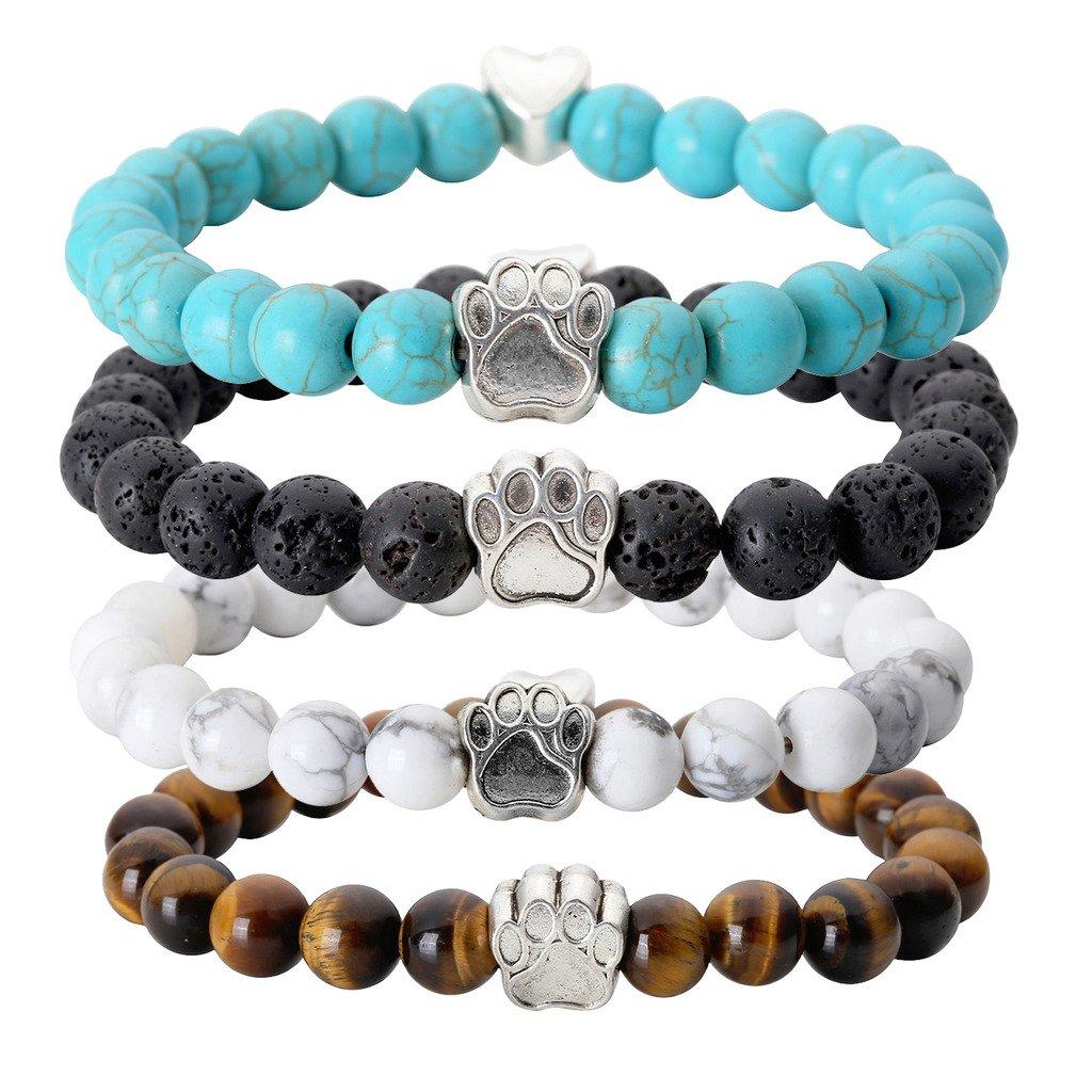 Jovivi 4pc Vintage Lava/Turquoise/Tiger Eye Stone Healing Power Crystal Dog Paw Charm Elastic Stretch Beaded Bracelets by Jovivi