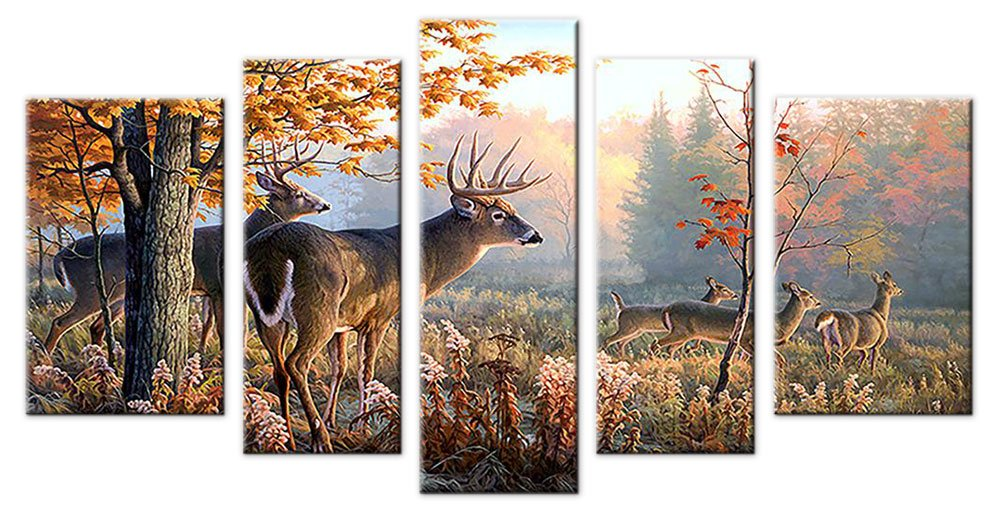 Deer Wall Art Canvas Prints Picture Decor Large 5 Piece Moose Wildlife Animal Photo Artwork Natural Peaceful Landscape for Bathroom Living Room Bedroom Decoration