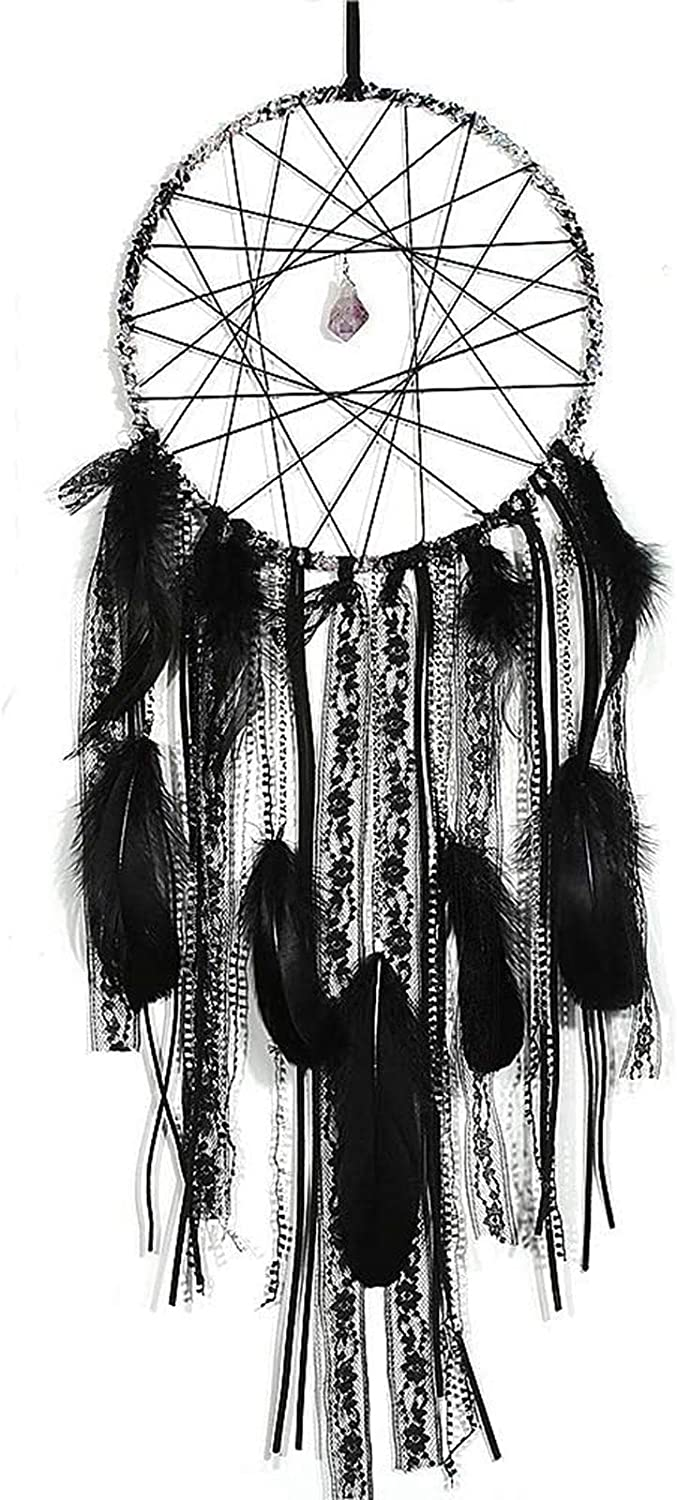 CHICIEVE Black Gothic Decorations for Home Amethyst Stone Dream Catcher Wall Hanging Home Decor 7.9