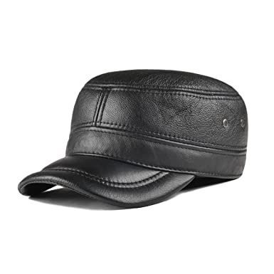ff8a37011a436 VOBOOM Genuine Leather Cap for Men Winter Military Style Adjustable Cadet  Cap with Ear Flap (