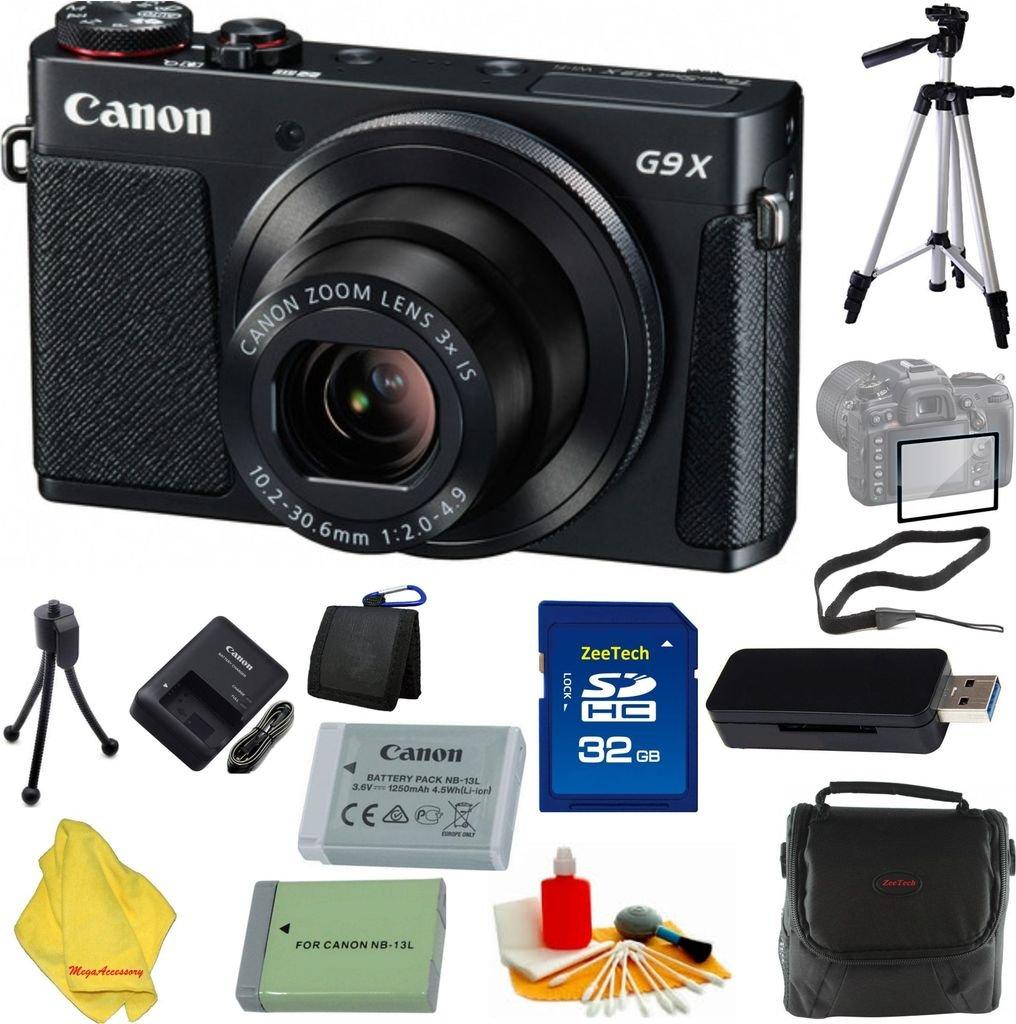 Canon PowerShot g9 Xカメラ、3 x光学ズーム、Wi - Fi、3インチLCD (ブラック) +ケース+ 32 GBカード+リーダー+ 6個スターターセット+三脚+予備バッテリー   B01LY0WPHC