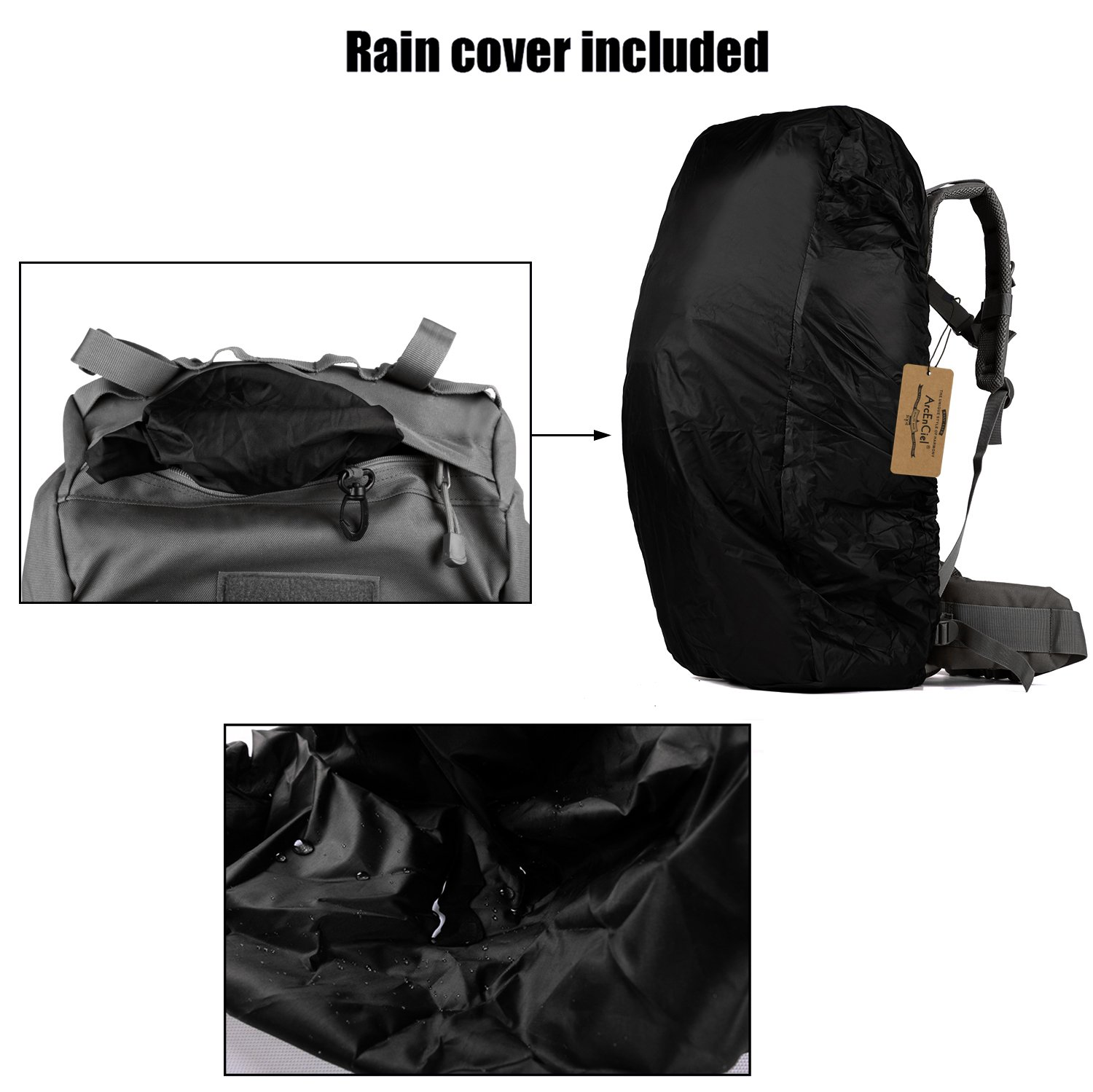 1b225ad8ecaf Amazon.com   ArcEnCiel 65L Waterproof Tactical Giant Hiking Camping Backpack  with Rain Cover (Black)   Sports   Outdoors