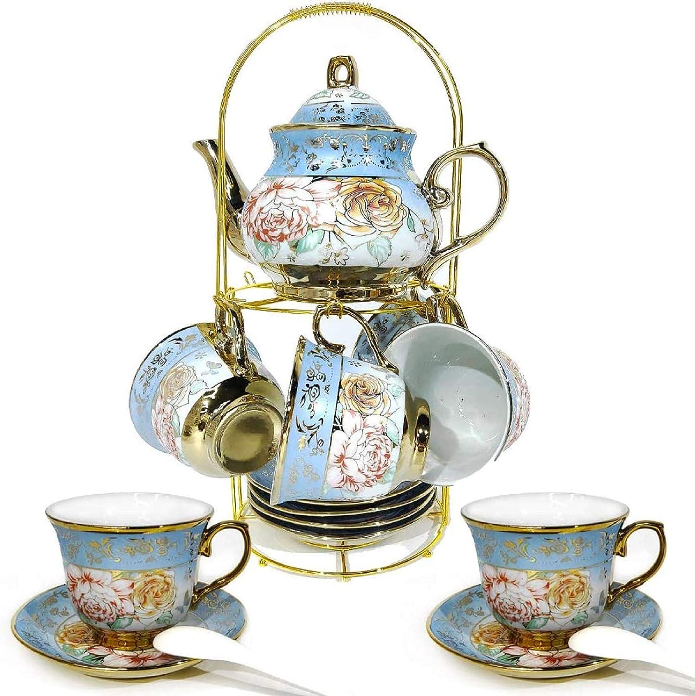 DaGiBayCn 20 PCS Tea set Ceramics Tea set Afternoon Tea Set Adult tea set Gift Tea Set Can Drink Coffee Strong Tea blue