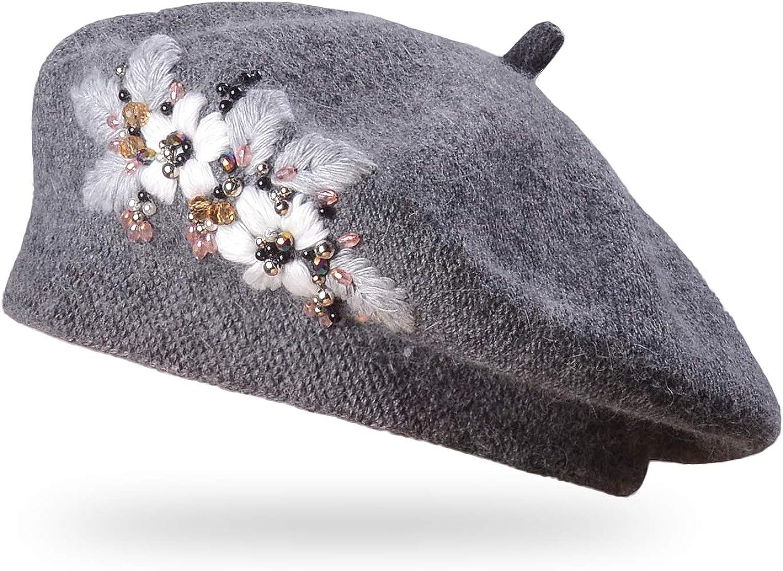 Women Retro Beret Cap Flat Top PU Leather Painter Beanie Hat Autumn Winter Gift