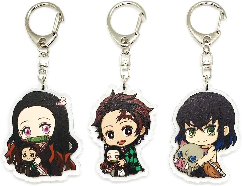 Set of 3 Demon Slayer Kimetsu Anime Acrylic Keychain Nezuko Tanjirou Inosuke
