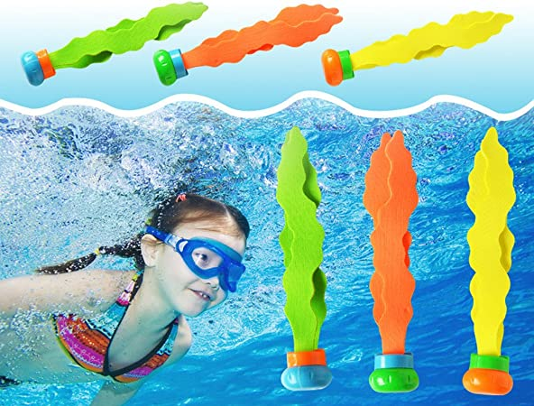 3pcs Children Diving Swimming Colorful Pool Sink Training Diving Seaweed Toy ML