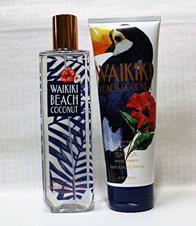 Bath And Body Works Waikiki Beach Coconut Fragrance Mist And Ultra Shea Cream Set 2017 Series
