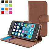 Snugg® iPhone 5 / 5s Case - Leather Flip Case with Lifetime Guarantee (Distressed Brown) for Apple iPhone 5 / 5s