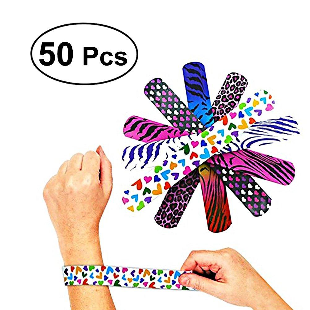 Heart Print Bracelet pour f/ête de f/ête des enfants TOYMYTOY 50 pcs en forme de poitrine pour animaux couleur al/éatoire