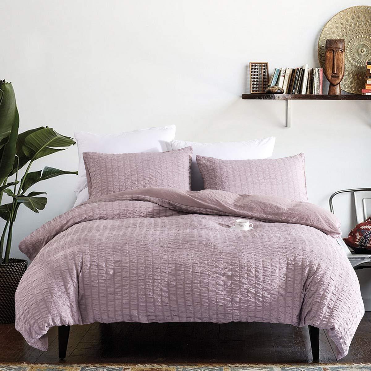 Ultra-Soft /& Hypoallergenic 3 Piece King TanNicoor Seersucker Duvet Cover Set Dark Grey,Luxury Washed Cotton Comforter Quilt Bedding Covers with Zipper and Corner Ties