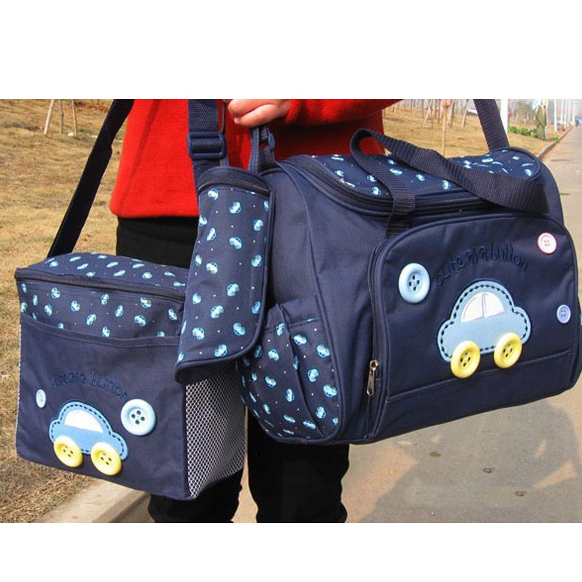 MKQPOWER 4pcs Baby Diaper Nappy Changing Bag Multi-functional Waterproof Mummy Shoulder Bag Bottle Holder Travel Backpack for Mothers Day Gift Purplish Blue