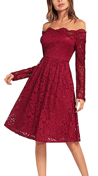 Primavera y Otoño Elegante Vestido de Encaje Mujeres 1950s Vintage Vestidos de Partido Cóctel Fiesta Ceremonia